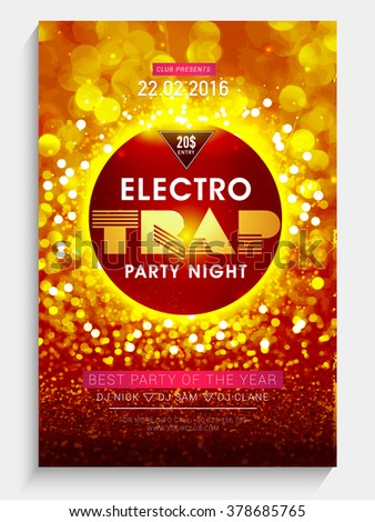 Creative shiny Flyer, Banner or Template design for Electro Trap, Best Party Night celebration. - stock vector