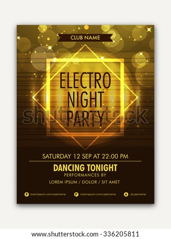 Creative shiny Template, Banner or Flyer design Musical Night Party celebration.  - stock vector