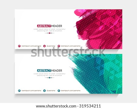 Creative shiny website header or banner set with abstract color splash. - stock vector