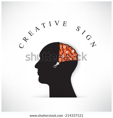 Creative silhouette head with opening the brain by zipper on background ,design for poster flyer cover brochure ,business idea.vector illustration - stock vector