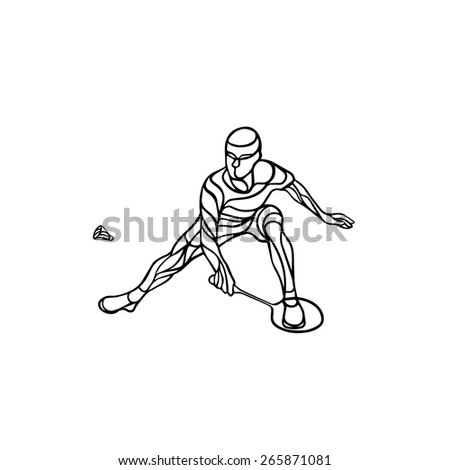 Creative silhouette of abstract badminton player. Black and white outline professional badminton player. Outline vector illustration - stock vector