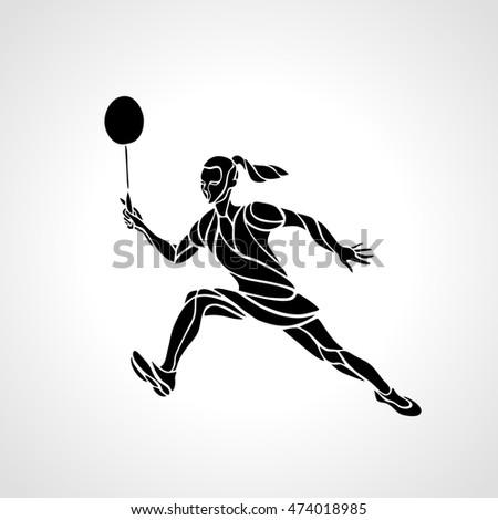 Badminton player silhouette