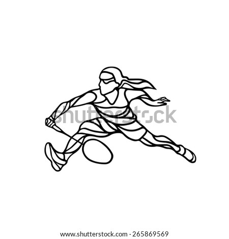Creative silhouette of abstract female badminton player. Black and white outline professional badminton player. - stock vector