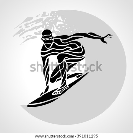 Creative silhouette of surfer. Isolated surfing man with wave - vector clipart illustration - stock vector