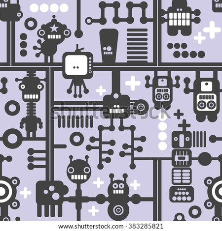 Creative simple background with nanobots. Vector seamless pattern. - stock vector