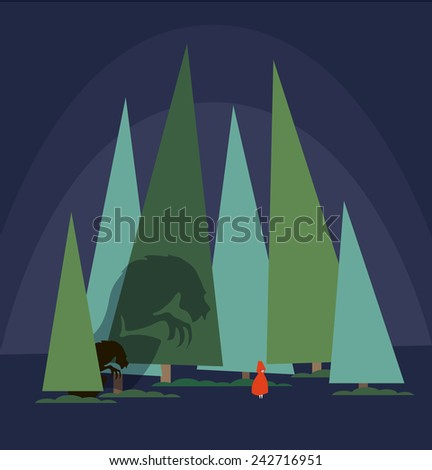 "creative sketch of a fairy tale ""Little Red Riding Hood"" - stock vector"