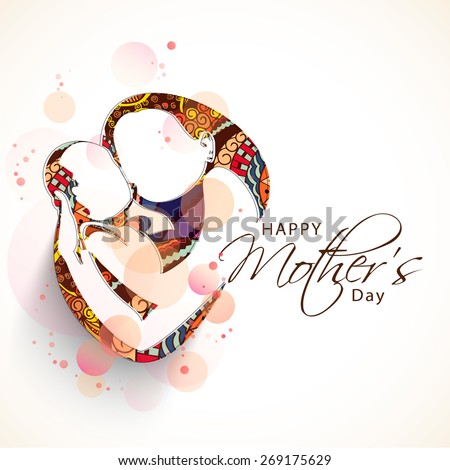 Creative sketch of a mom with her child on floral design for Happy Mother's Day celebration.  - stock vector