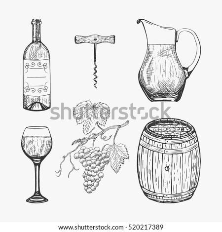 Creative sketch of wine elements. Vector illustration with graphic wine icons. Hand drawing wine elements used for advertising wine, beverage in restaurant or bar menu, for logo design.