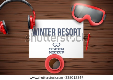 Creative ski workplace with white paper and dark wood background. Winter ski theme. Top view. - stock vector