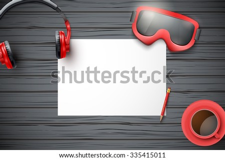 Creative ski workplace with white paper and dark wood background. Winter ski theme. Top view flat lay. - stock vector