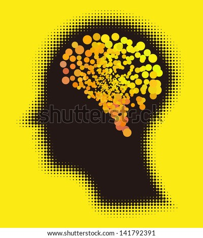 Creative, smart, imaginative brain. Colorful design vector idea. - stock vector