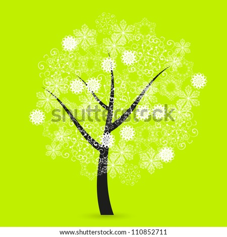 Creative snowflakes tree on green background. Eps 10 - stock vector