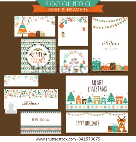 Creative social media post, ads, headers or banners for Merry Christmas and Happy New Year celebration. - stock vector