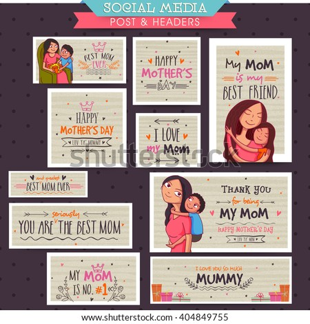 Creative social media post and header set with different typographic collection for Happy Mother's Day celebration concept. - stock vector