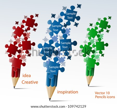 Creative splash pencil with puzzles illustration vector. - stock vector