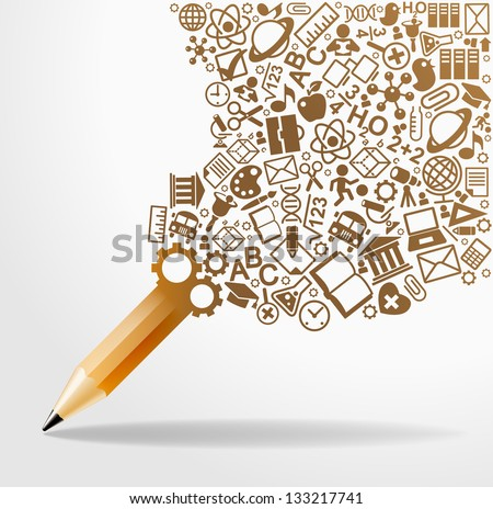 creative splash pencil with school icons set illustration. concept learning. the study of science. his work - eps10 vector file, contain transparent elements and mesh gradients - stock vector