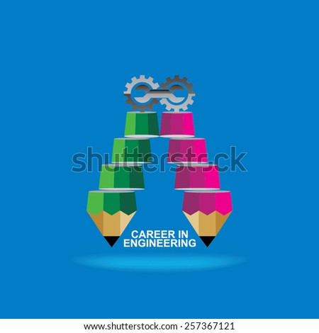 creative stair pencil top of the engineering gear best engineer idea concept  - stock vector