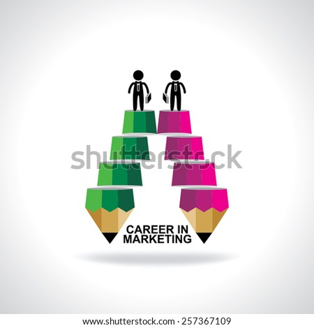 creative stair pencil top of the two peoples idea concept  - stock vector