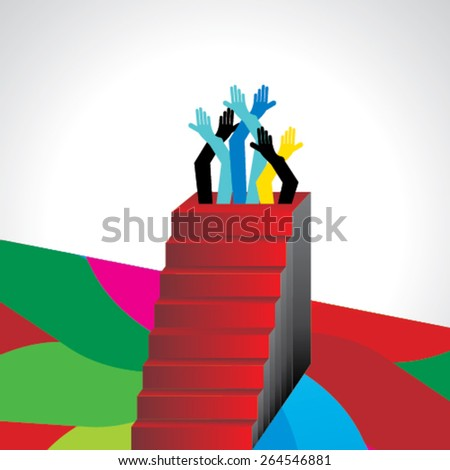 creative stairs concept teamwork idea  - stock vector