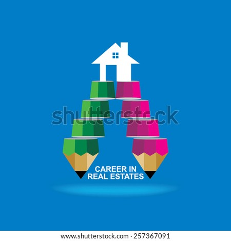 creative stairs pencil top of the house idea concept  - stock vector