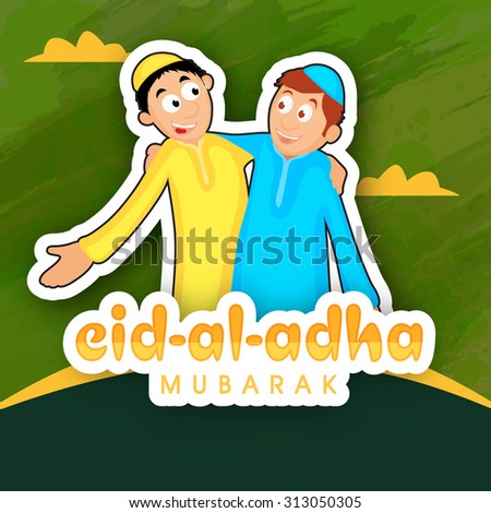 Creative sticky design with illustration of happy Muslim people enjoying and celebrating on occasion of Islamic festival, Eid-Al-Adha Mubarak. - stock vector