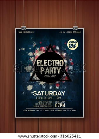 Creative stylish hanging flyer, banner or template on wooden background for Electro Party celebration. - stock vector
