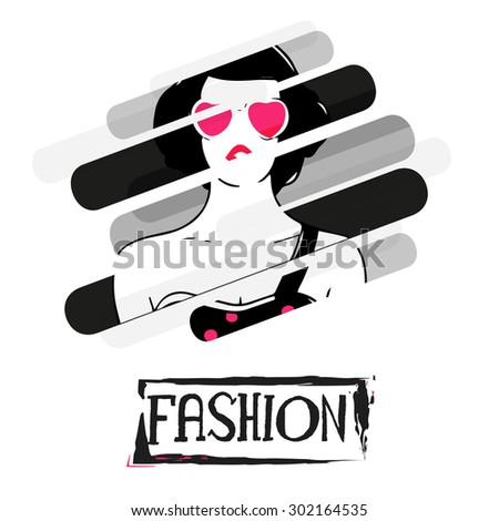 Creative stylish illustration of young fashionable girl on for Fashion. - stock vector