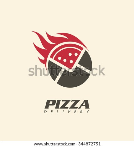Creative symbol concept for pizza delivery.  Logo inspiration for pizzeria or restaurant. Fast food promotional business icon template. - stock vector