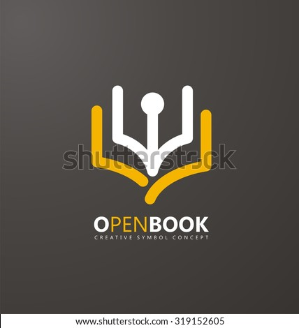 Creative symbol concept with book and pen. Unique icon idea for bookstore or publishing business. Simple and flat logo design layout with education theme. - stock vector
