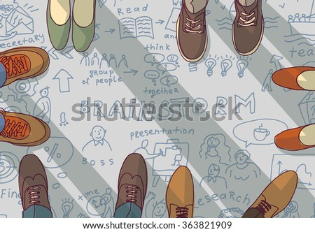 Creative team group people ideas brainstorm doodles. Color vector illustration. EPS8 - stock vector