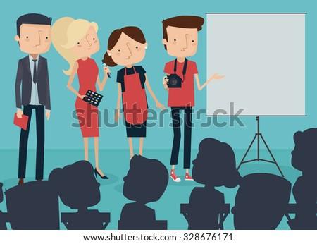 Creative, Team Making Presentation for Public. Vector Illustration - stock vector