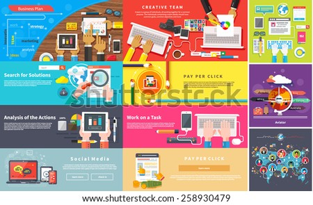 Creative team. Young design team working desk. Business plan strategy with touchscreen presentation. Search for solutions infographics. Businessman working on notebook. Analysis actions. Pay per click - stock vector
