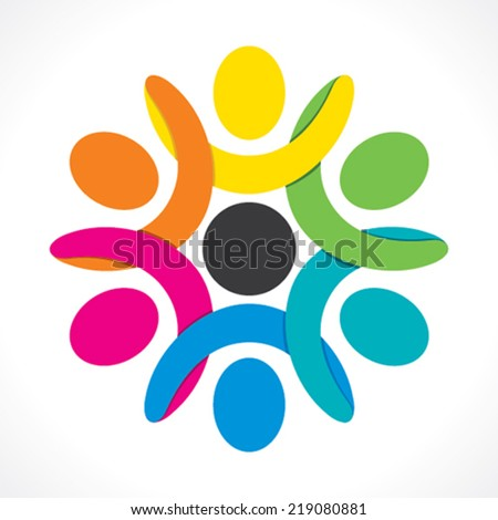 creative teamwork icon design by colorful people concept vector  - stock vector