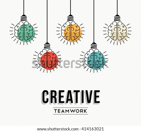 Creative teamwork modern design with human brains as colorful lamp light, success in business concept. EPS10 vector. - stock vector
