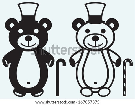 Creative teddy bear isolated on blue background - stock vector