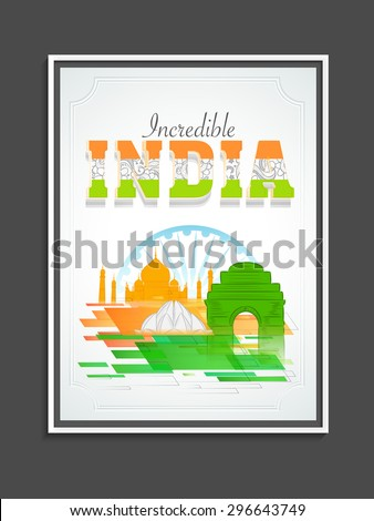 Creative template, banner or flyer design with floral tricolor text Incredible India and famous monuments on Ashoka Wheel background for Indian Independence Day celebration. - stock vector