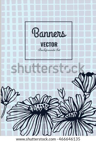 Creative template card. Hand drawn vintage element. Vector banner for card, poster, invitation, flyer, party, wedding, brochure. Flower design collection