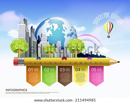 creative template of ecology concept with pencil flow chart infographic  - stock vector