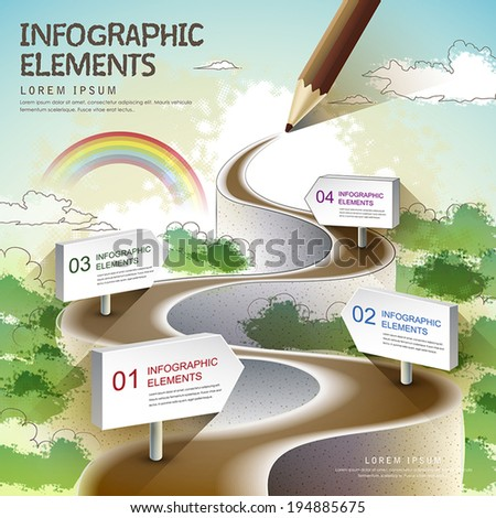 creative template with colored pencil drawing a natural road, can be used for infographics and banners, concept vector illustration - stock vector