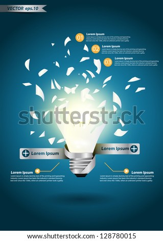 Creative Template with idea bulb explode, With infographics concept vector illustration design