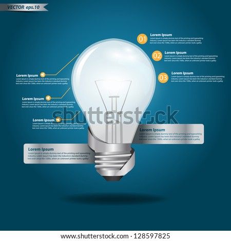 Creative Template with light bulb banner, With infographics concept vector illustration design - stock vector