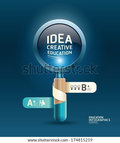 Creative Template with Magnifier ribbon banner / can be used for infographics / banners / concept vector illustration - stock vector