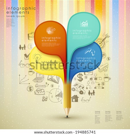 creative template with pencil and colorful hand drawn background, can be used for infographics and banners, concept vector illustration - stock vector