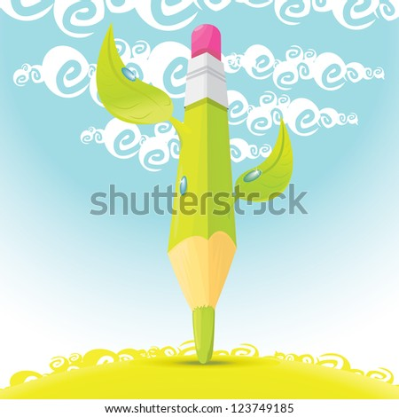 creative template with pencil and green grass art concept vector illustration. summer or spring background for design. bright kids background. ecology icon - stock vector