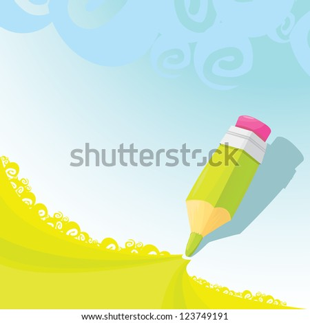 creative template with pencil and green grass art concept vector illustration. summer or spring background for design. bright kids background. - stock vector