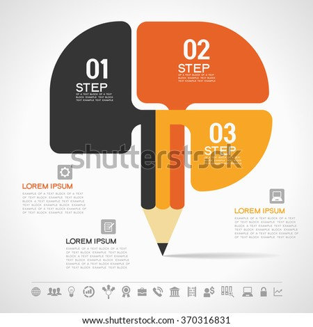 Creative Template with pencil for infographics. File is 10 EPS version. This illustration contains a transparency - stock vector