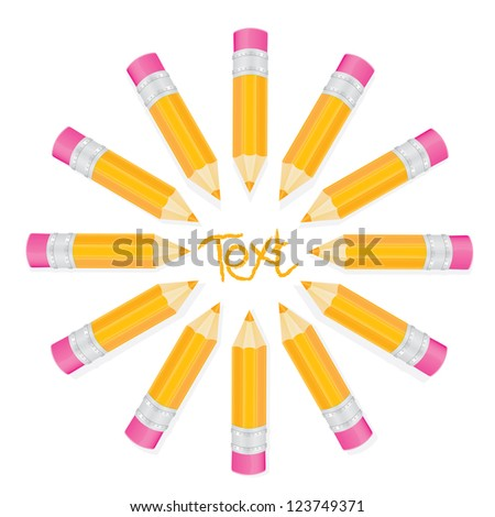 creative template with pencils and place for text art concept vector illustration. - stock vector