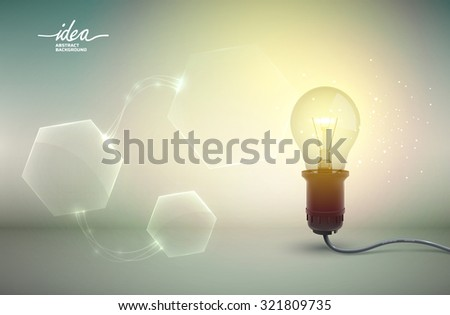 Creative template with realistic 3D light bulb with abstract shapes on the background. Vector Illustration, eps 10, contains transparencies. - stock vector