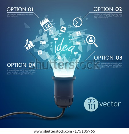 Creative template with realistic light bulb. Vector Illustration, eps 10, contains transparencies. - stock vector
