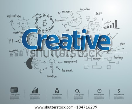 Creative text with drawing business success strategy plan idea, Inspiration concept modern design template workflow layout, diagram, step up options, Vector illustration